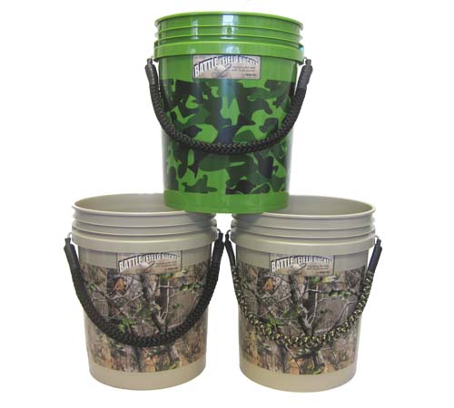 field buckets with rope handles